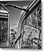 Old Cracked Glass Spider Web Metal Print