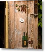 Old Door And Wine Metal Print