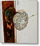 Old Glass Doorknob Metal Print