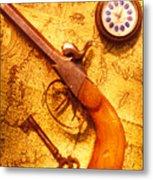 Old Gun On Old Map Metal Print by Garry Gay