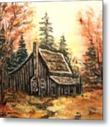 Old House And Pump Metal Print