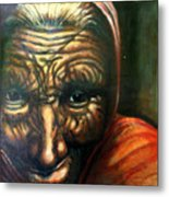 Old Lady - Map Of Life Metal Print