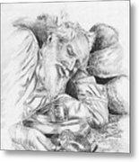 Old Man Feeding Chipmunk Metal Print