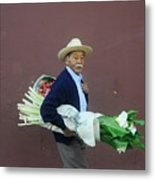 Old Man With Flowers Metal Print