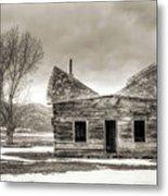 Old Rustic Log Cabin In The Snow Metal Print by Dustin K Ryan