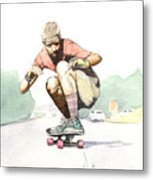 Old School Skater Metal Print