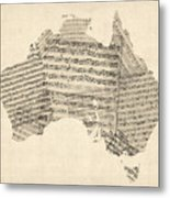Old Sheet Music Map Of Australia Map Metal Print by Michael Tompsett
