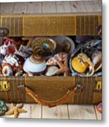 Old Suitcase Full Of Sea Shells Metal Print by Garry Gay