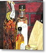 Olive Oil Bottles Metal Print