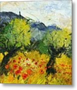 Olive Trees And Poppies  Metal Print