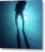 One Scuba Diver Underwater Metal Print