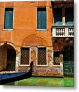 Orange Building And Gondola Metal Print
