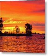 Orange Glow Sunset At Sunset Beach In Vancouver Bc Metal Print