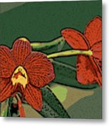 Orange Orchids Metal Print