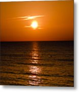 Orange Sunrise Over A Florida Beach Metal Print
