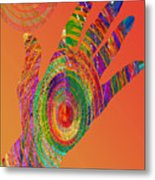 Orange Swirl Hand Metal Print
