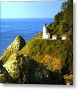 Oregan Lighthouse Metal Print