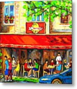 Outdoor Cafe On St. Denis In Montreal Metal Print