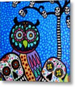 Owl And Sugar Day Of The Dead Metal Print by Pristine Cartera Turkus