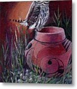 Owl N Pot Metal Print