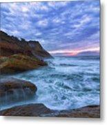 Pacific Ocean At Cape Kiwanda In Oregon Metal Print