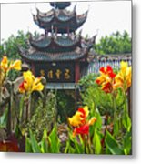 Pagoda With Flowers Metal Print