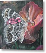 Painted Lady On A Pansy Metal Print