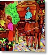 Paintings Of Montreal Streets Old Montreal With Flower Cart And Caleche By Artist Carole Spandau Metal Print