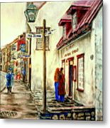 Paintings Of Quebec Landmarks Aux Anciens Canadiens Restaurant Rainy Morning October City Scene  Metal Print