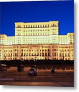 Palace Of Parliament At Night Metal Print