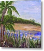 Palm Trees In Florida Cove Metal Print