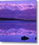Panorama Badwater And The Panamint Range At Sunrise Death Valley Metal Print