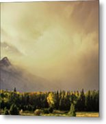 Panorama Clearing Storm Over The Grand Tetons Metal Print