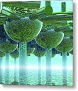 Panoramic Green City And Alien Or Future Human Metal Print