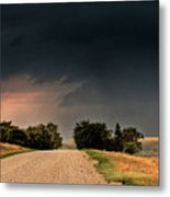 Panoramic Lightning Storm In The Prairie Metal Print