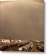 Panoramic Train Yard Storm Metal Print