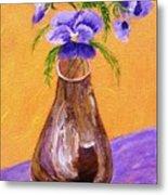 Pansies In Brown Vase Metal Print by Jamie Frier