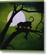 Panther Silhouette - Use Red-cyan 3d Glasses Metal Print