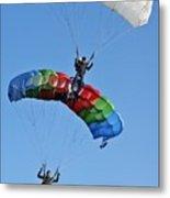 Parachutists Biplane Metal Print