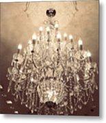 Paris Dreamy Golden Sepia Sparkling Elegant Opulent Chandelier Fine Art Metal Print by Kathy Fornal