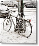Paris In Snow Metal Print