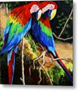 Parrots In The Jungle Metal Print