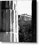 Parthenon From The Temple Of Hephaistos Athens Metal Print