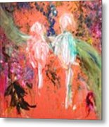 Pastel Parrots In Abstraction Metal Print