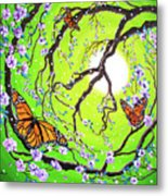 Peace Tree With Monarch Butterflies Metal Print
