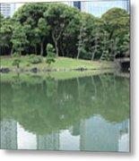 Peaceful Bridge In Tokyo Park Metal Print