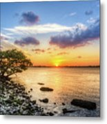Peaceful Evening On The Waterway Metal Print