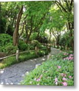 Peaceful Garden Path Metal Print