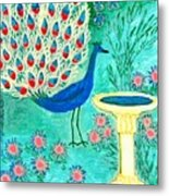 Peacock And Birdbath Metal Print