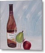 Pear In Glass Metal Print